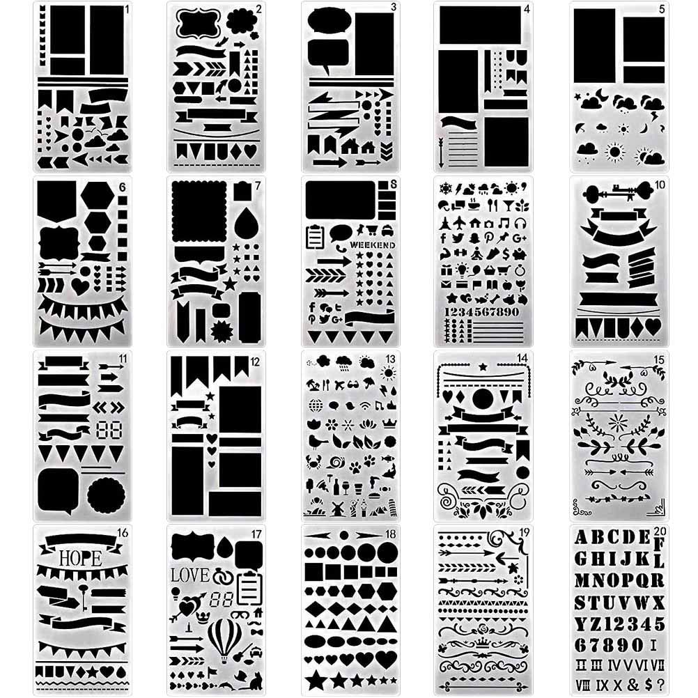 nuosen 20 Pieces Bullet Journal Stencil Set, 4x7 inch Plastic Planner Stencils for Diary/Scrapbook/Journal/Notebook/Art Craft Projects/Schedule Book DIY Drawing Template