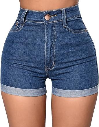 Amazon Com Baifern Pantalones Cortos De Denim Elastizado Tiro Alto Para Mujer Clothing
