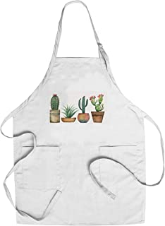 product image for Watercolor Painting Set of Cacti & Succulent Plants Isolated on White 9014255 (Cotton/Polyester Chef's Apron)