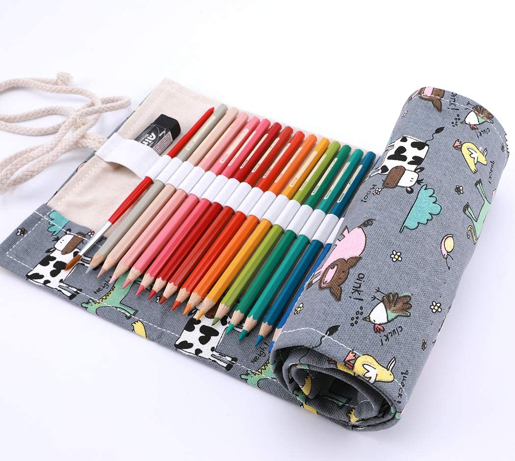 abaría - Estuche Enrollable para 48 lápices Colores, portalápices de Lona: Amazon.es: Electrónica