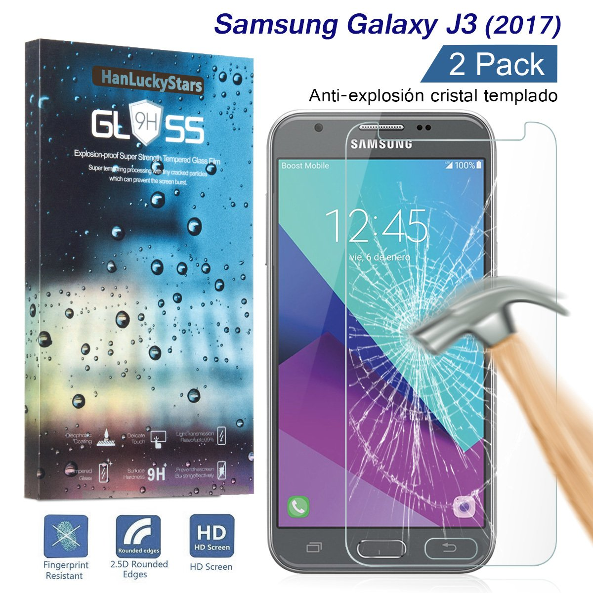 [2-Pack] Galaxy J3 Protector de Pantalla, HanLuckyStars Cristal Templado para Samsung Galaxy J3(2017), Vidrio Templado con [9H Dureza][Alta Transparencia] ...