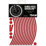 VFLUO Circular™, Kit de Cintas, Rayas Retro Reflectantes para Llantas de Moto (1 Rueda), 3M Technology™, Anchura Normal : 7mm, Rojo