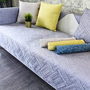 Anti-Slip Couch Cover, Reversible Jacquard Quilted Sofa Slipcover Machine Washable Furniture Protector Multi-Size Sofa Cover-J-70x150cm(28x59inch)
