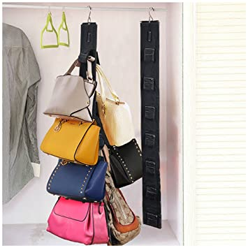 Hanging purse rack handbag closet organizer storage with hook 1 rack