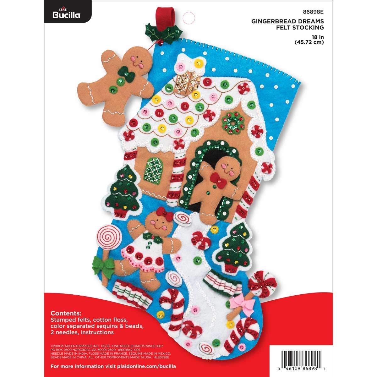 Bucilla 18-inch Christmas Stocking Felt Applique Kit, 86898E Gingerbread Dreams by Bucilla