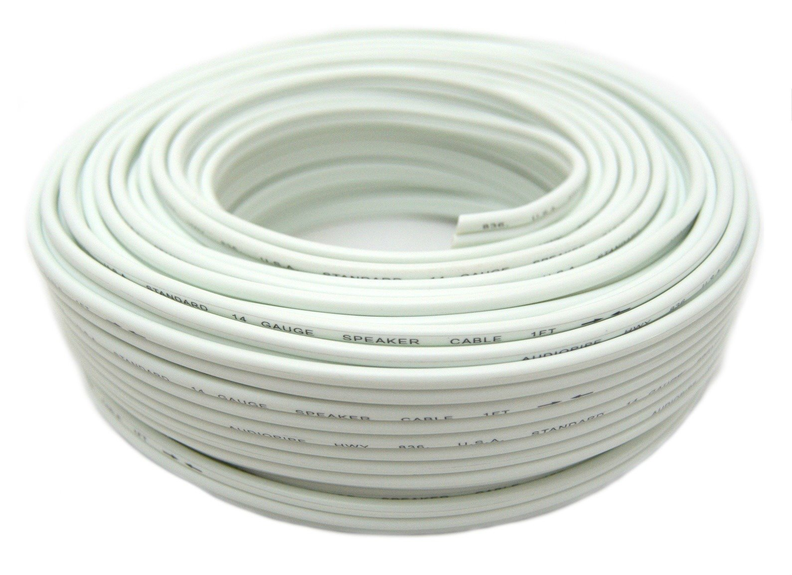 Audiopipe 14 Ga 100 Feet White Speaker Wire Zip Cable Copper Clad Car Stereo