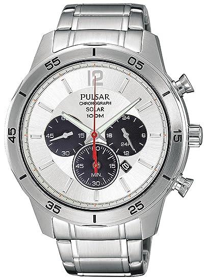Pulsar Reloj Cronógrafo para Hombre de Energía Solar con Correa en Acero Inoxidable PX5047X1: Pulsar: Amazon.es: Relojes