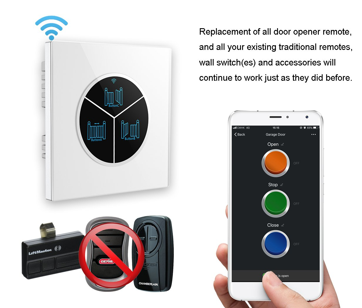 Wireless Garage Door Opener Remote WiFi Switch Universal Controlled by Smartphone for Automatic Gate Opener System(with Door Sensor) by Pearok (Image #2)
