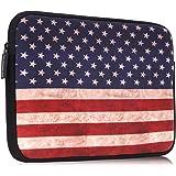 """MoKo 9-10 Inch Sleeve Bag, Portable Neoprene Case Cover for iPad 9.7 2018/2017, iPad Pro 10.5, iPad 1/2/3/4, iPad Air/Air 2, ZenPad 3S 10 9.7, Lenovo Tab 4 10"""", Samsung Galaxy Tab A 10.1 - US Flag"""