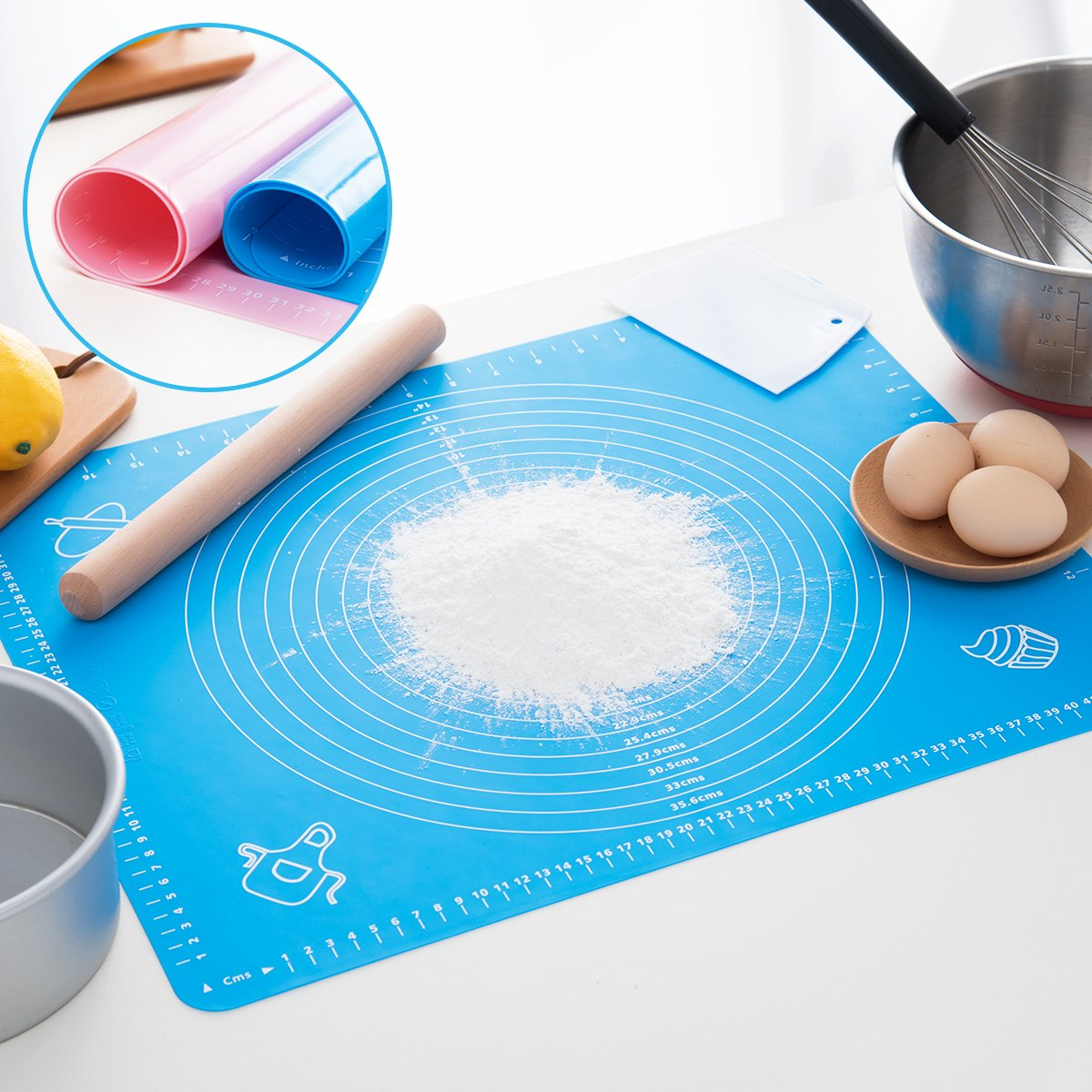 Silicone Baking Mat for Pastry Rolling with Measurements, Liner Heat Resistance Table Placemat Pad Pastry Board, Reusable Non-Stick Silicone Baking Mat for Housewife, Cooking Enthusiasts by LIMNUO (Image #6)