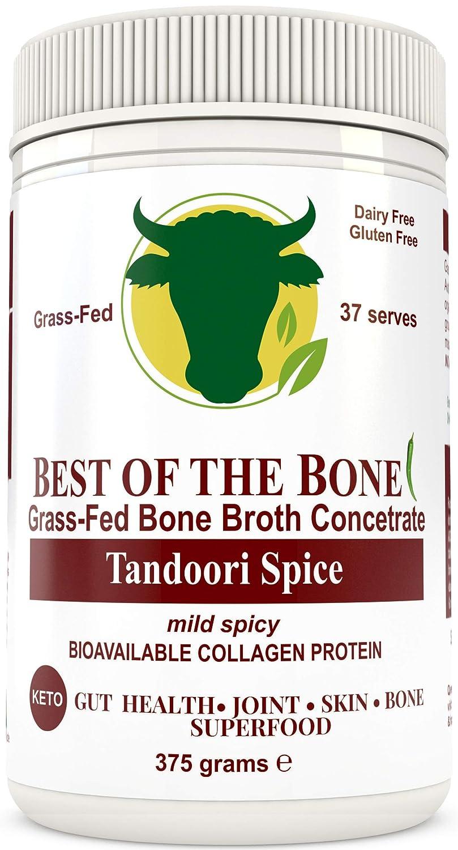 Concentr� de bouillon d'os de b�uf de premi�re qualit� � saveur tandoori - 100% provenant de bovins �lev�s au p�turage et nourris � l'herbe de l'AU - Peau et ongles plus sains, bone broth