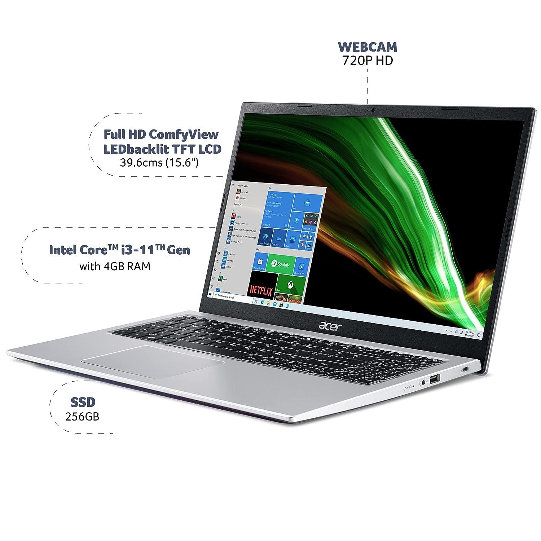 Acer Aspire 3 Intel Core i3 11th Generation 15″ (38.1 cms) – (4 GB/256 GB SSD/Windows 10 Home/Intel UHD Graphics /1.7Kg/Silver) A315-58
