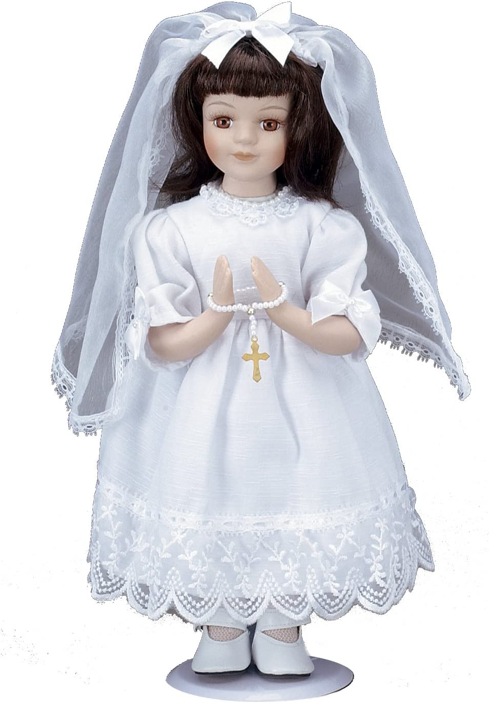 Roman Communion Gifts, Tall Porcelain Communion Doll, 12-Inch, Brunette