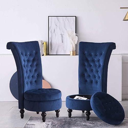 High Back Accent Chair Throne Chair Velvet Chair