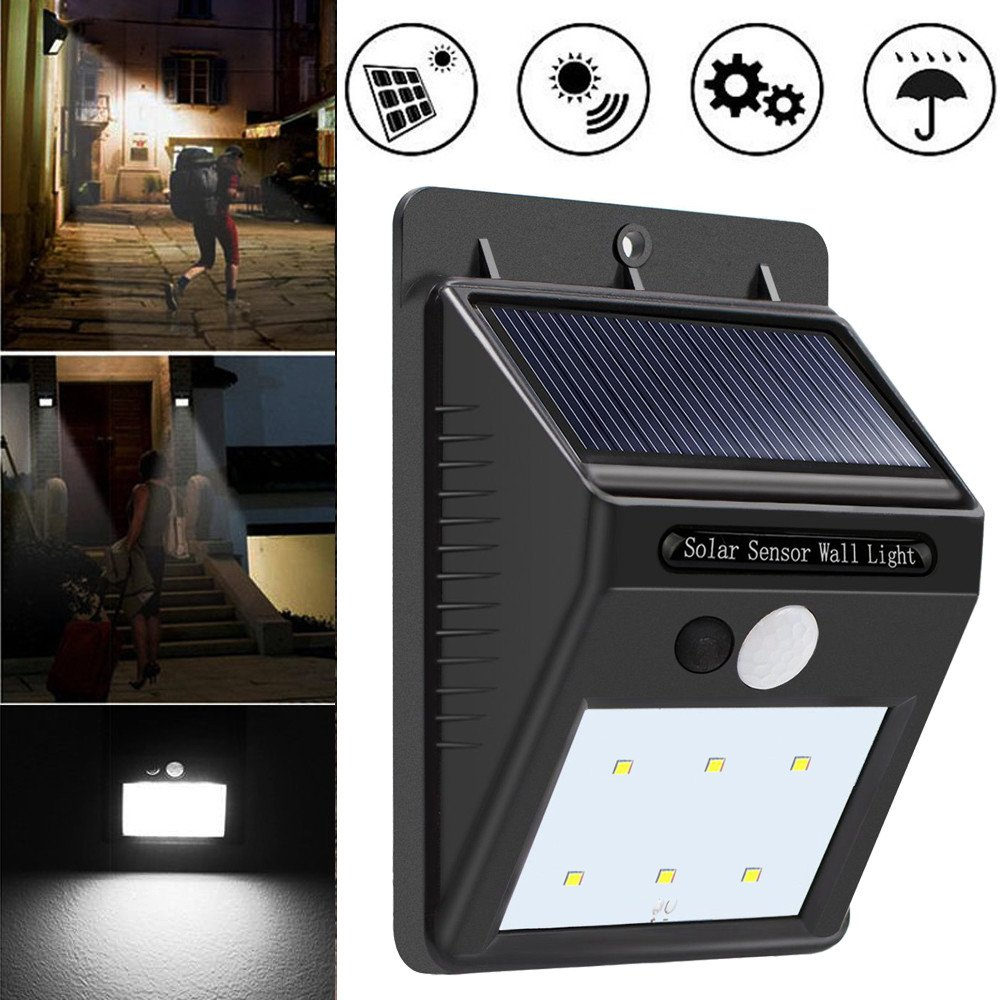 Malloom 2018 Solar Power Outdoor Super Bright 6 LED Security Wall Light Motion Sensor Solar Powered Lights for Garden Fence Patio Yard Walkway Driveway Stairs Outside New Version Waterproof [Energy Class A+++] PH-4.71