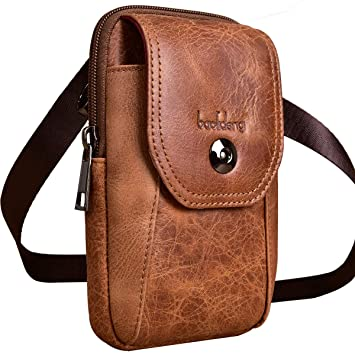 c172b214f2e Amazon.com: Mens Travel Purse Leather Crossbody Phone Bag Large ...