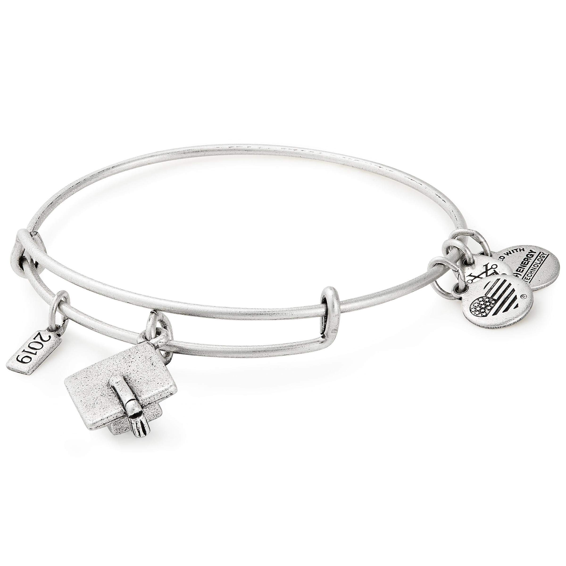 Alex and Ani Women's 2019 Grad Cap Charm Bangle, Silver, Expandable