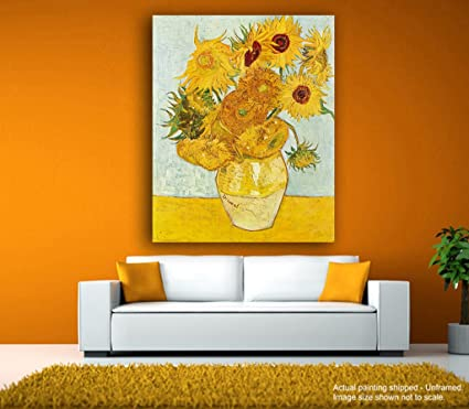 Tamatina Canvas Paintings - Vase with Fifteen Sunflowers - Vincent ...