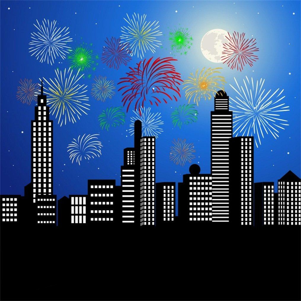 aofoto 8 x 8ft Festival FireworksモダンCityscape Backdrop Holiday Downtown Night Skyscraper抽象Urban Buildings写真背景Happy New Yearフォトスタジオ小道具シームレスな壁紙   B078N5CBT5