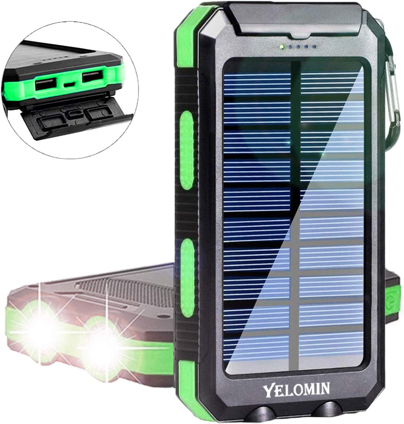 Solar Charger 20000mAh,YELOMIN Portable Outdoor Mobile Power Bank,Camping Travel External Backup Battery Pack Dual USB 5V Outputs 2 LED Light Flashlight with Compass