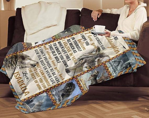 Grey Wolf Beautiful Art Blanket Gift For Granddaughter Love Grandma Sofa Blanket