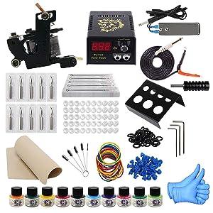 ITATOO Complete Tattoo Kit for Beginners Tattoo Power Supply Kit 10 Tattoo Inks 30 Tattoo Needles 1 Pro Tattoo Machine Kit Tattoo Supplies TK1000009
