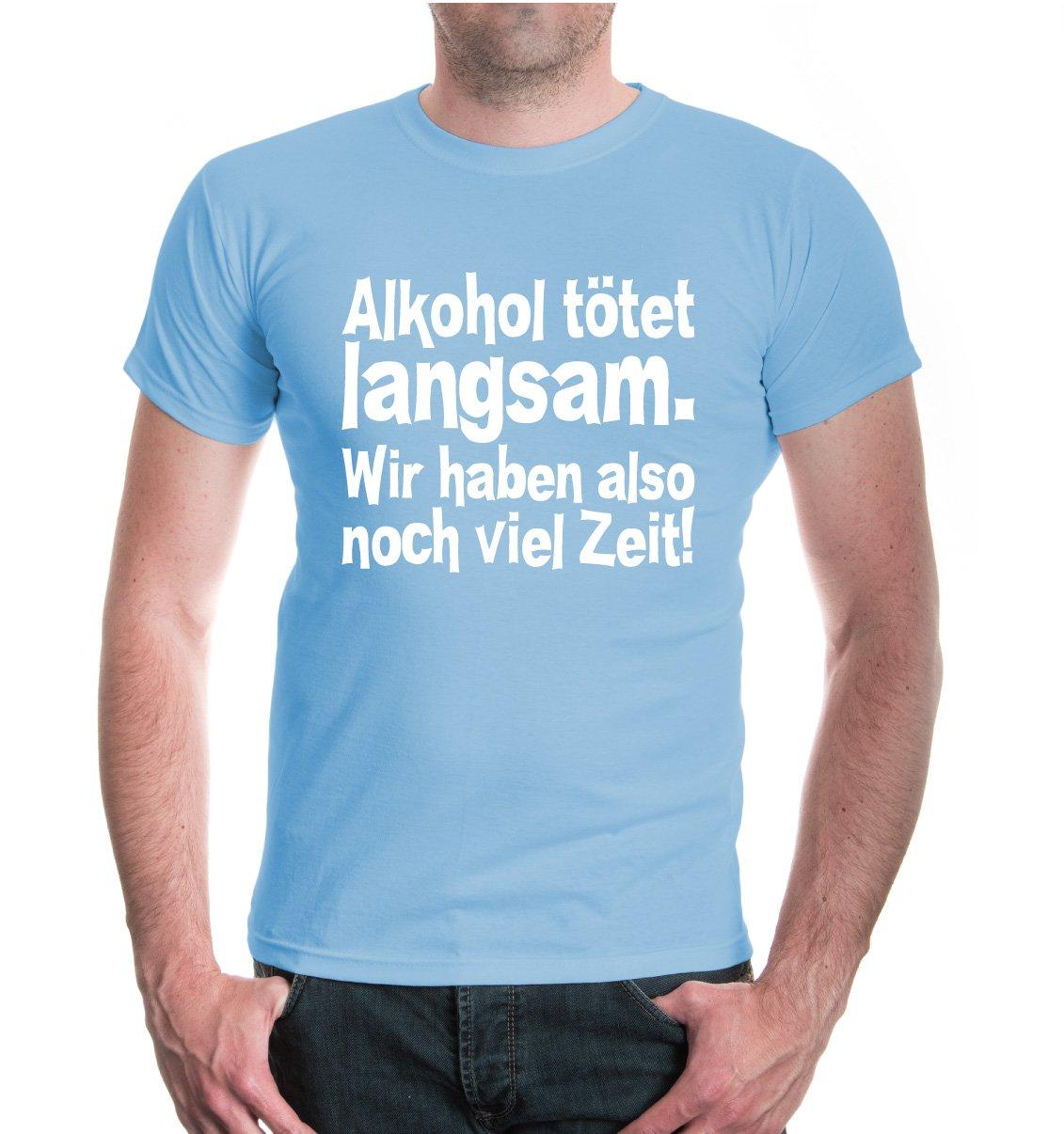 buXsbaum® Herren Unisex Kurzarm T-Shirt bedruckt T-Shirt Alkohol tötet  langsam. Wir haben also noch viel Zeit! | Party Spruch Bier: Amazon.de:  Bekleidung