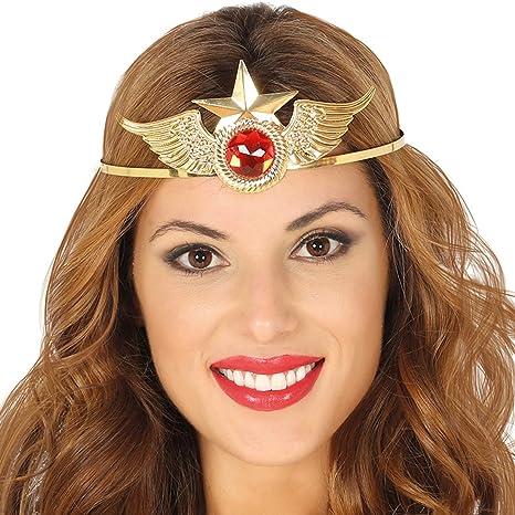 NET TOYS Llamativa Diadema de superheroína - Dorado-Rojo - Moderno ...