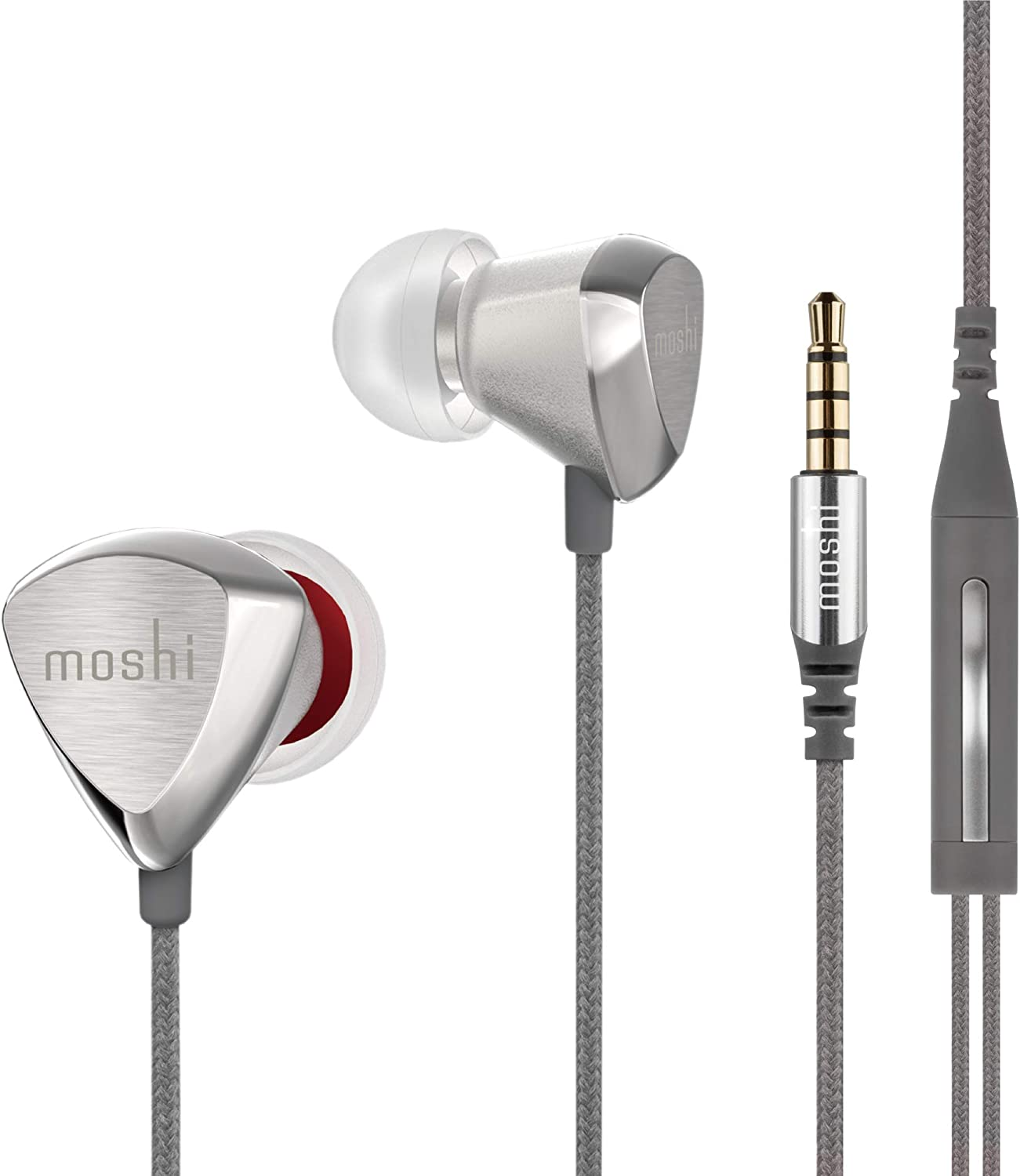 Moshi Vortex 2 Headphone with Microphone Noise-Isolation Hi-Fi XR8 for iPhone Android Phone, Push-Button Support for Siri and Google Assistant.