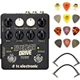 TC Electronic SpectraDrive Bass Preamp/Overdrive Pedal Bundle with 2 Patch Cables and Dunlop PVP101 Pick Pack