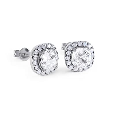 2ct Stardust Diamond Halo Stud Earrings z6rDSV3u1H