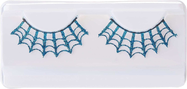 Blau Halloween enth/ält Klebstoff Smiffys Spinnweben-Wimpern mit Glitzer