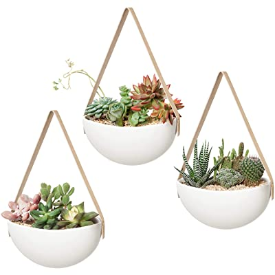 Mkono Ceramic Hanging Planter Wall Planters Set of 3 Modern Flower Plant Pots for Succulent Herb Air Plant Live or Faux Plants Home Office Decor Gift Idea, White: Garden & Outdoor