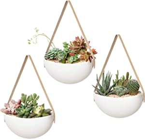Mkono Ceramic Hanging Planter Modern Wall Flower Pot for Succulent Herb Air Plant Live or Faux Plants Home Decor, Set of 3