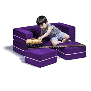 Jaxx Zipline Kids Modular Loveseat & Ottomans/Fold Out Lounger, Grape