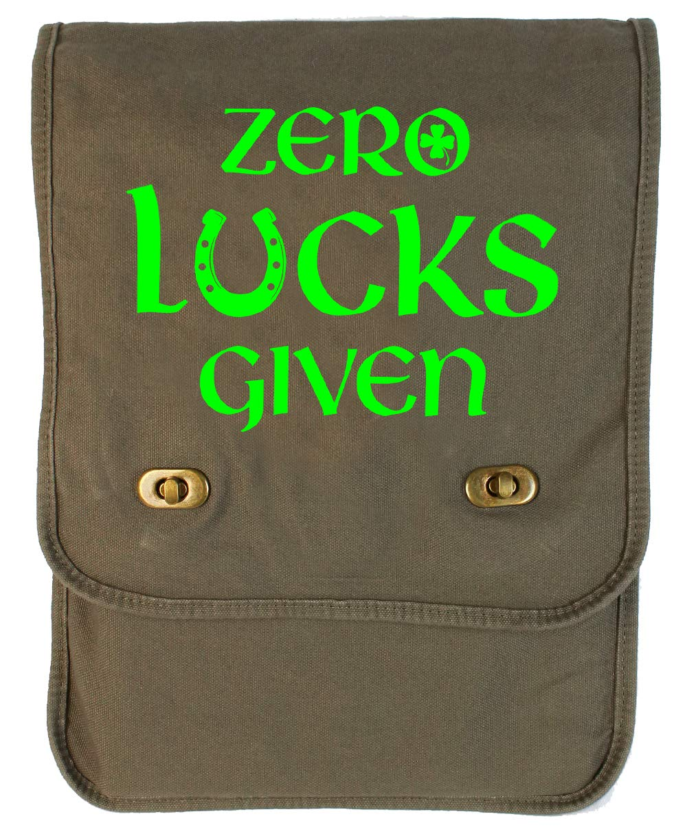 Tenacitee Zero Lucks Given Green Brushed Canvas Messenger Bag