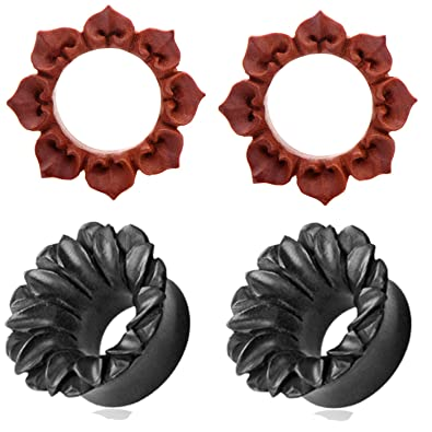 Amazon 2 pairs of organic red saba and black lotus flower wood 2 pairs of organic red saba and black lotus flower wood ear plugs tunnels 2g 0g mightylinksfo
