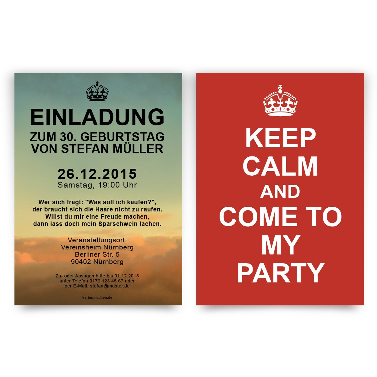 Keep Calm Party Invitations - Birthday Invitation Cards (Pack of 40 ...