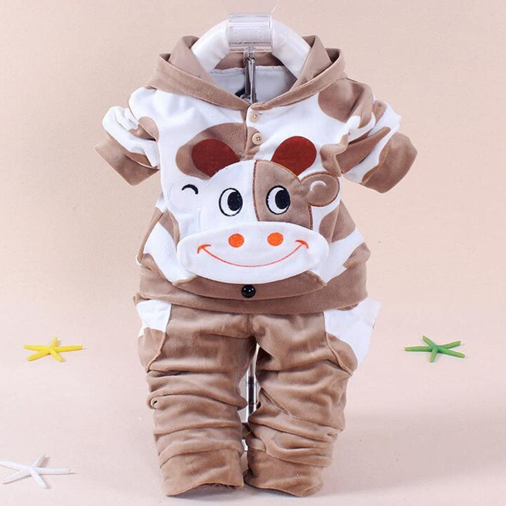 Brezeh for 0-24 Months Kids Cute Kids Newborn Infant Baby Boys Girls Cartoon Cow Tops+Pants Outfits Set Printed Hoodie Clothes Sets