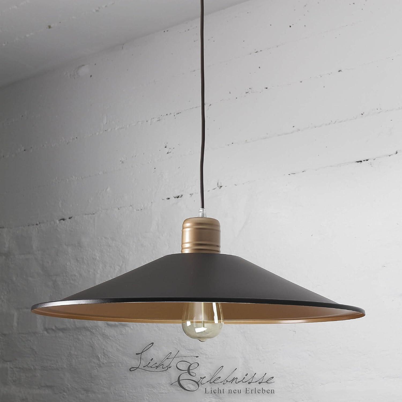 Praktische Hängeleuchte in schwarz kupferfarben Vintage inkl. 1x 12W E27 LED 230V Pendelleuchte aus Metall Hängelampe für Esszimmer Küche Pendellampe Lampe Leuchten Beleuchtung