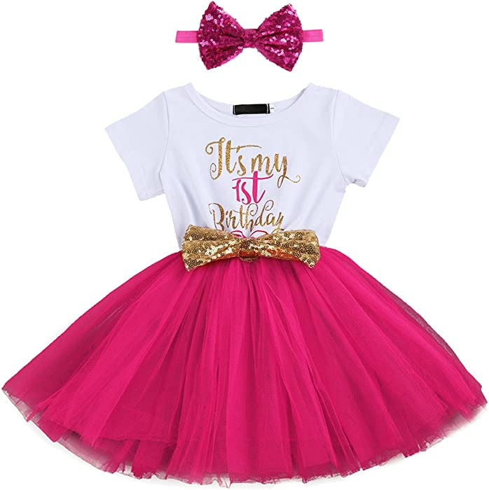 Kids Girl It s My 1st 2nd Birthday Cake Smash Outfits Shinny Printed Sequin  Bow Tutu c5792cb5be0b
