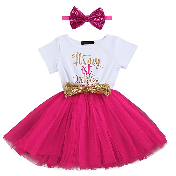 IBTOM CASTLE Kids Girl Its My 1st 2nd Birthday Cake Smash Outfits Shinny Printed Sequin