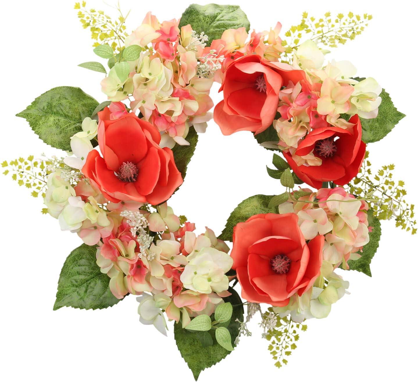 Cloris Art Summer Wreath for Front Door, 22 Inch Artificial Magnolia Hydrangea Wreath for Home Office Wedding Party, Spring Door Wreaths for Farmhouse Decor (Red)