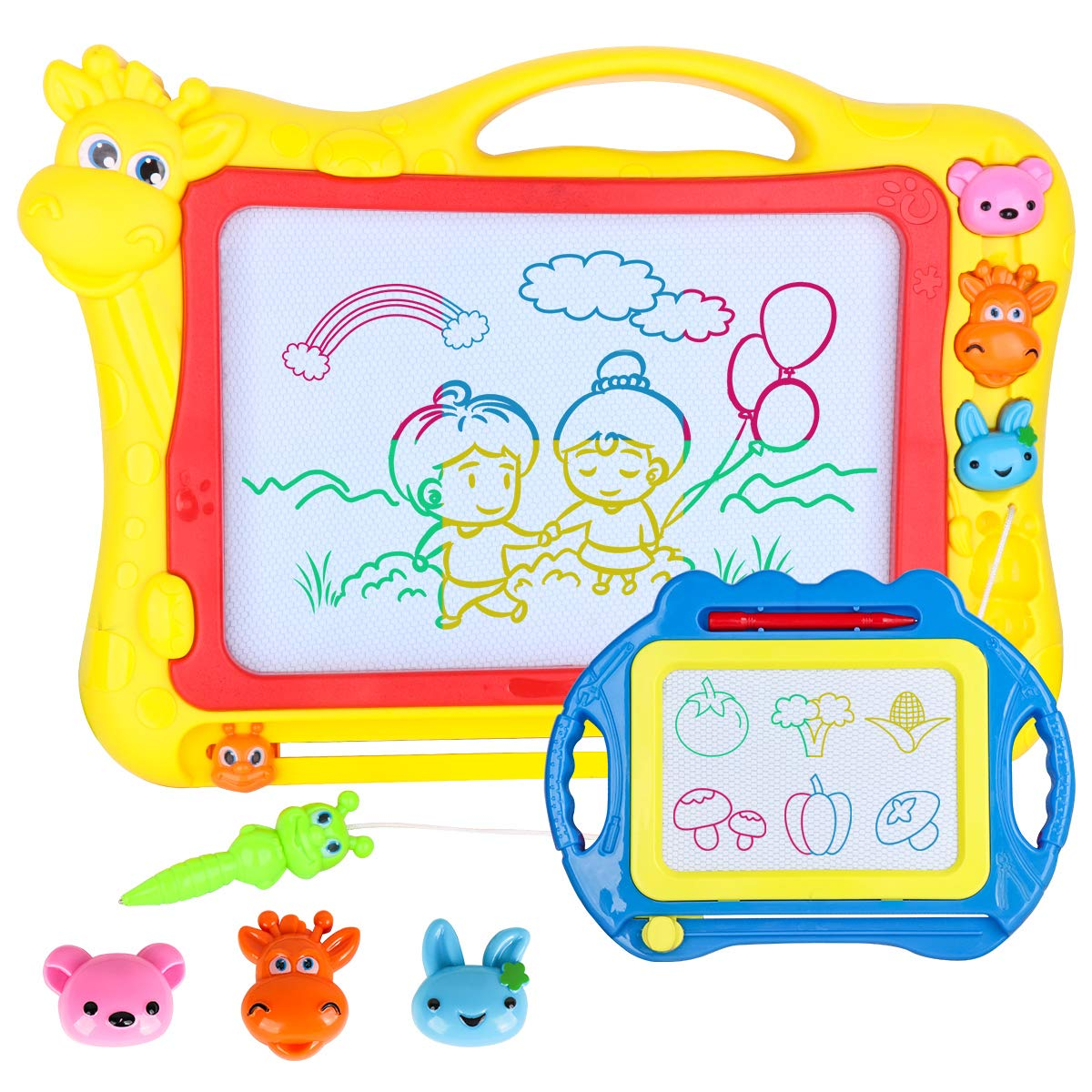 Magnetic Drawing Board for Kids - Large 17Inch Toddler Colorful Magna Doodle Pad with a Travel Size Etch Sketch Writing Board Pro with Magnet Pen, Baby Education Learning Toys & Gifts for Boys Girls by Meland