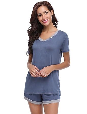 e6a3192572f562 Aibrou Damen Pyjama Schlafanzug Baumwolle Kurz Nachtwäsche Nachthemd  Hausanzug Kurzarm V Ausschnitt für Sommer: Amazon.de: Bekleidung