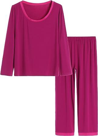 Latuza Womens 3//4 Sleeves Lounge Shirt Loose Pajama Tunic Top