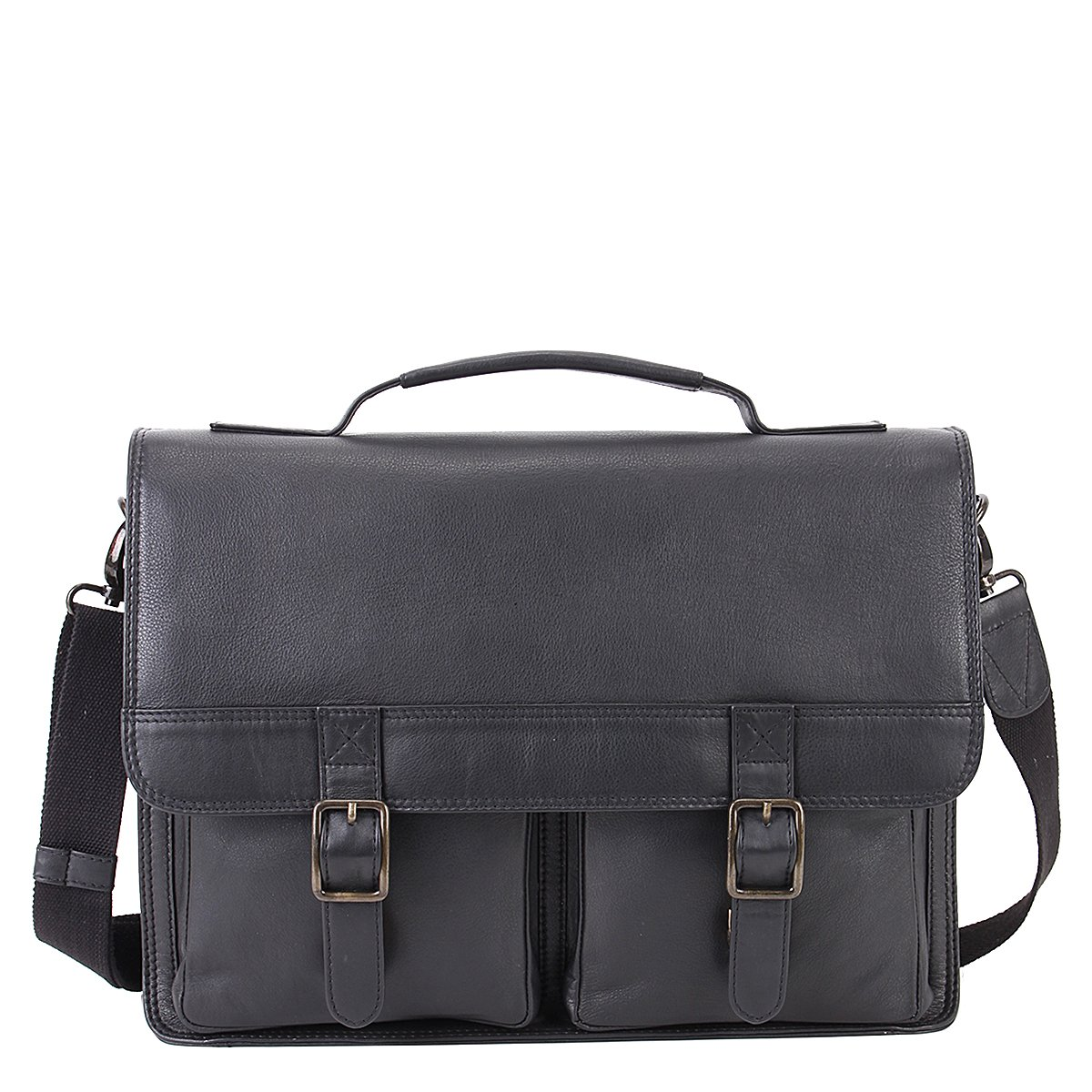 Aiden Double Pocket Laptop Briefcase - Leather Satchel Messenger Bag - 1-Year Warranty (Black)