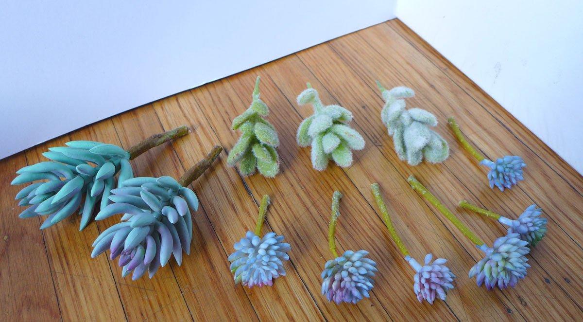 11ピース人工ミニ植物グレーFlocking草植物ブルー多肉植物装飾花人工Arrangement B07BYVNXFD