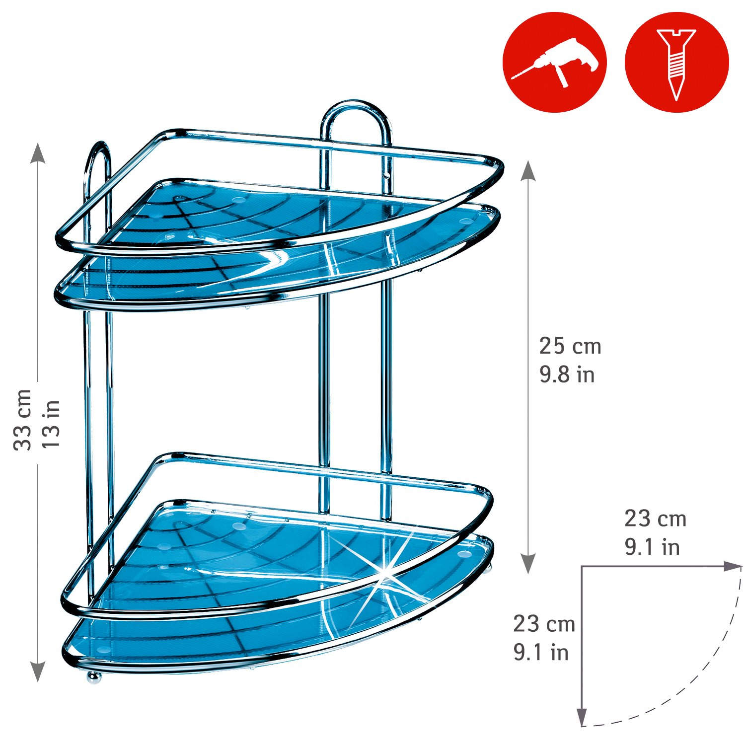 Tatkraft Kaiser Large Double Shower Corner Rack Caddy Antirust ...