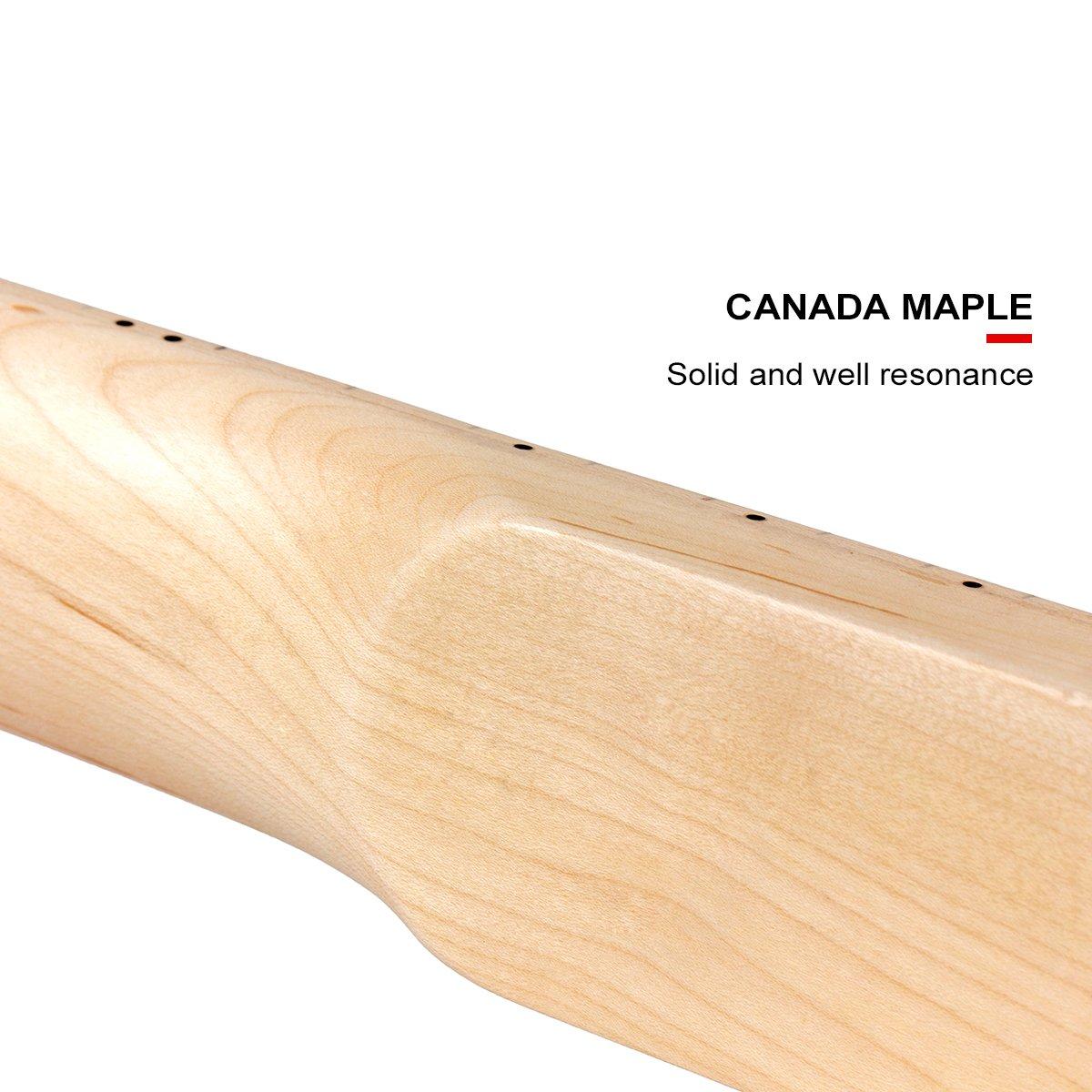 Kmise DIY Parts Clear Satin Maple 22 Fret Bolt on Paddle Headstock Electric Guitar Neck (4334250134) by Kmise (Image #7)